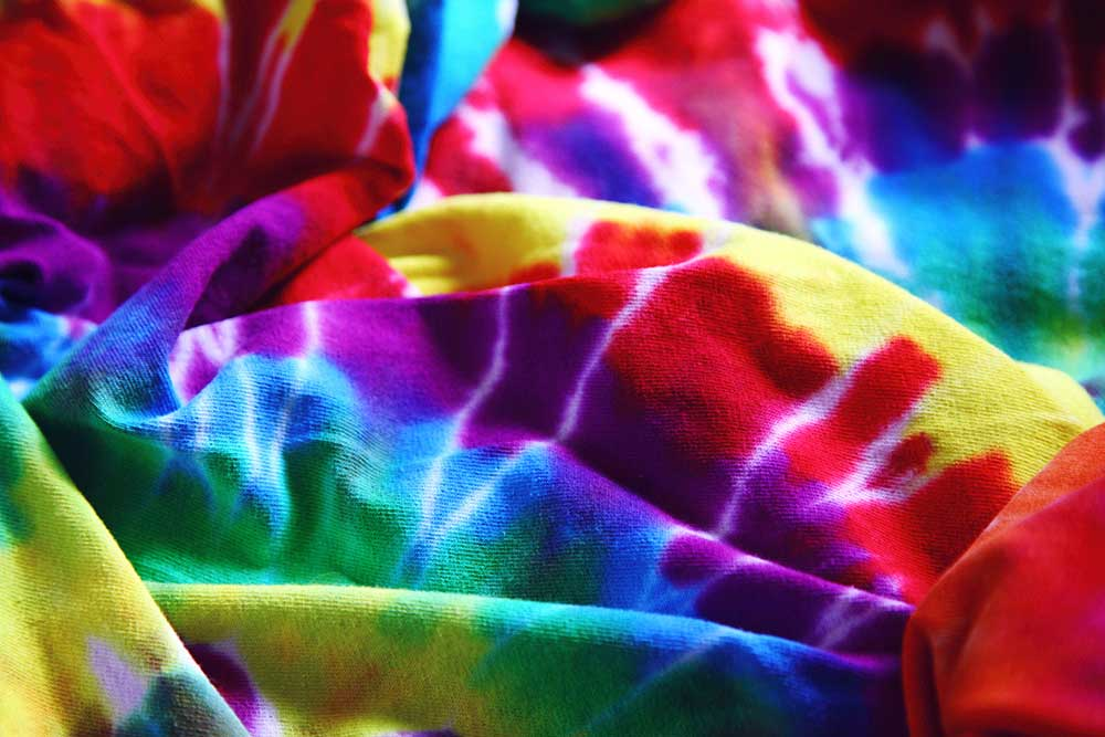 Tie-dye bags and t-shirts